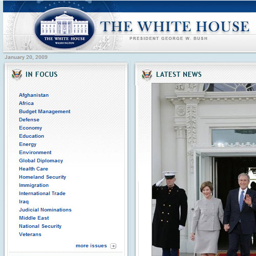 Old White House Website Showing Old Branding